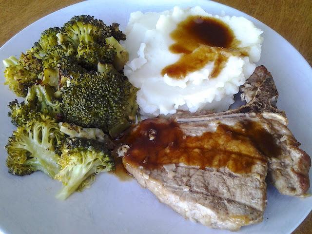 pork chop broccoli mashed potatoes