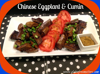 Chinese eggplant dinner on a plate
