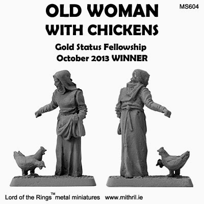 Old woman with chickens MS604 Mithril miniatures