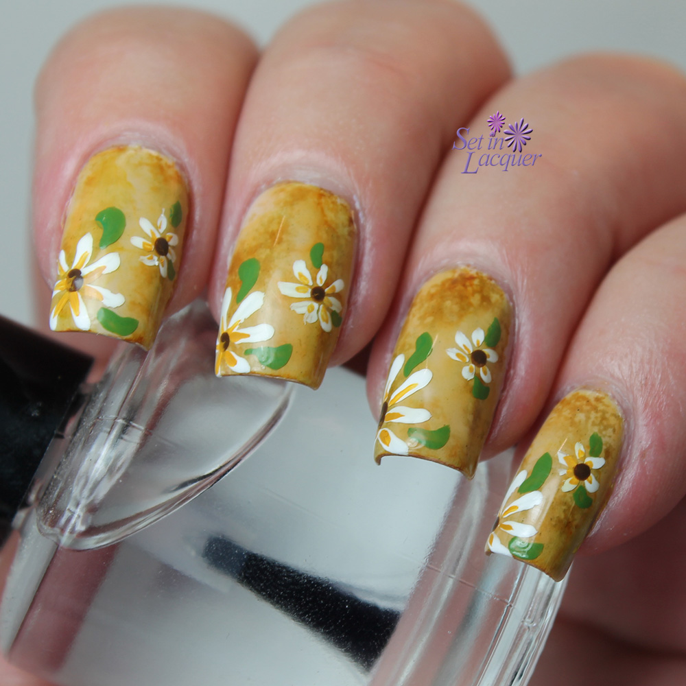 Floral Themed Nail Art over alcohol ink base
