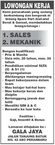 Lowongan Kerja Gala Jaya Pekanbaru