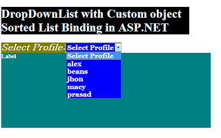DropDownList Custom Sorted List Binding