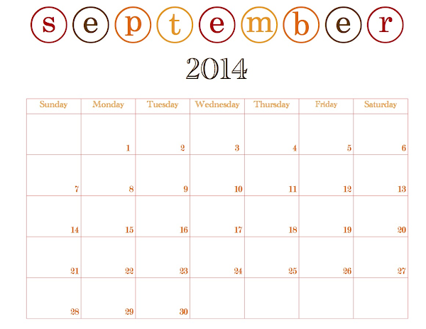 Free Printable September Calendar @ Blissful Roots