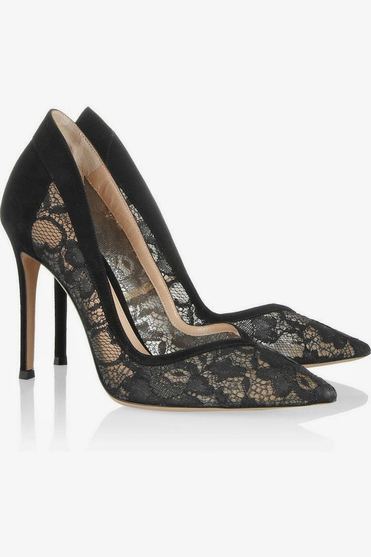 Gianvito Rossi Lace Pumps, Black Lace Heels