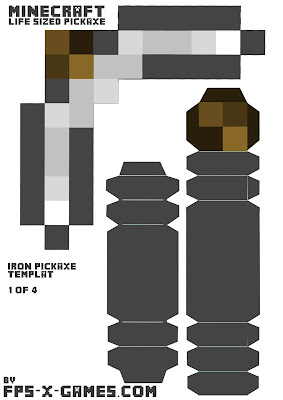Minecraft iron pickaxe printable papercraft template cut out 1/4