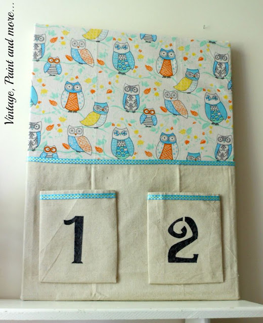 Vintage, Paint and more... DIY Dorm Decor - DIY recycled bulletin board done with a tea towel, drop cloth fabric and stenciling