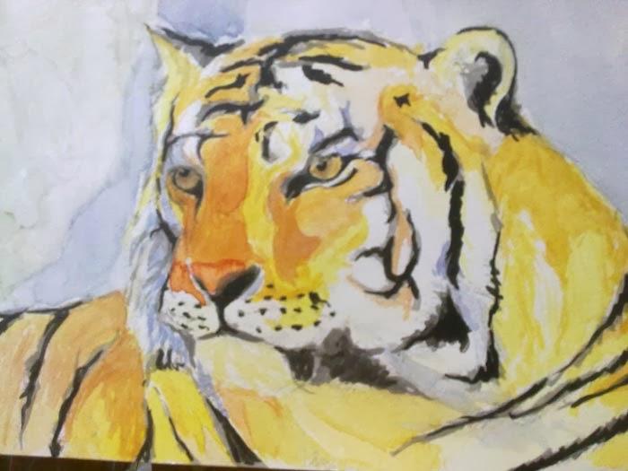 copia de una imagen de un tigre a partir de una fotografia