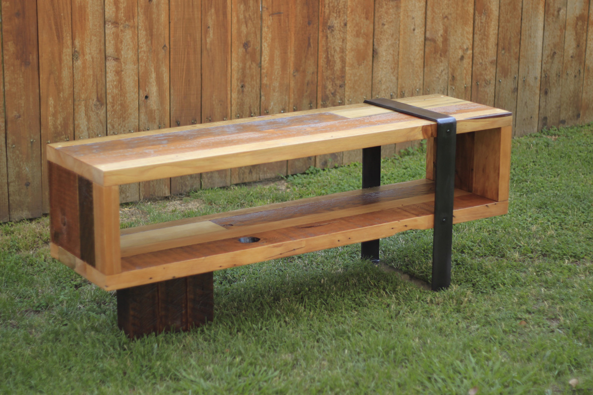 Arbor exchange reclaimed wood furniture consule bench for Repurposed metal furniture