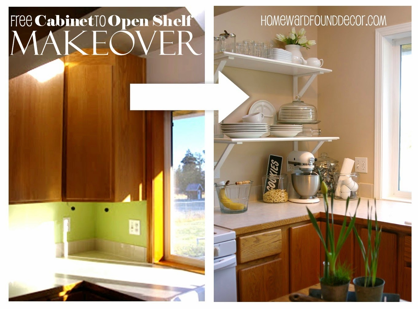 Diy kitchen cabinet to shelf makeoverhomewardfounddecor - Kitchen cabinet diy makeover ...