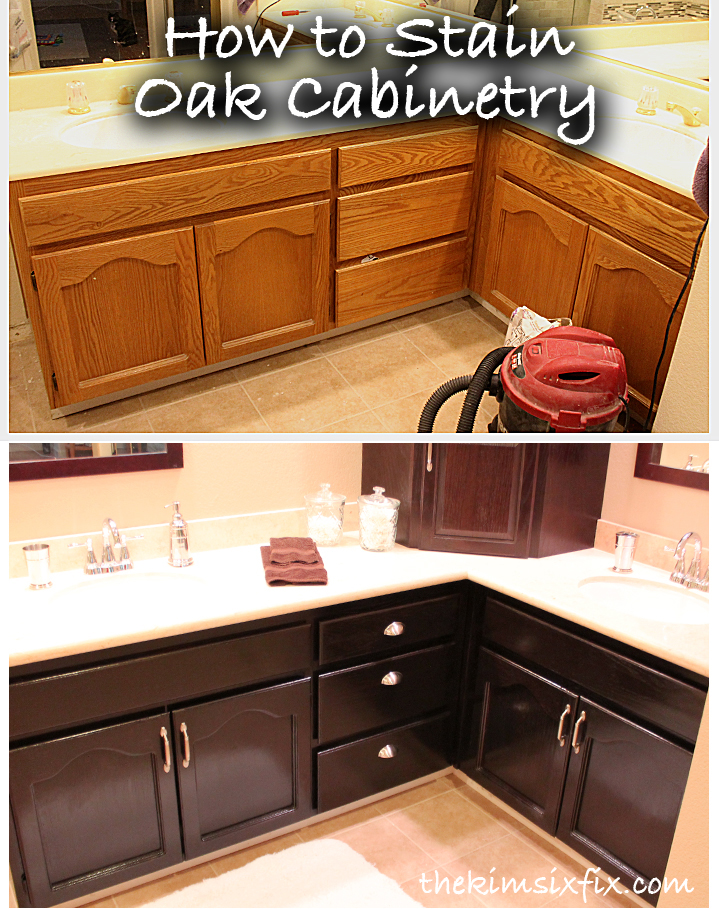 How to stain oak cabinetry tutorial the kim six fix for Can you use kitchen cabinets in bathrooms