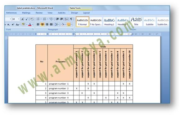 Gambar: Contoh  teks judul (header) tabel Vertikal di Microsoft Word