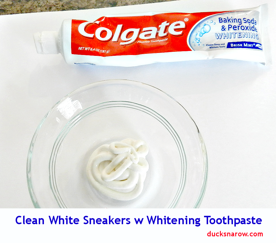 clean sneakers with toothpaste