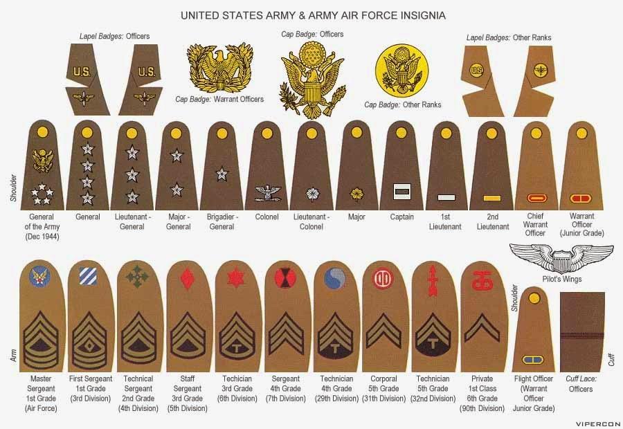 World War II US Army Ranks & Insignia | Bert A. Zeigler, Jr. Genealogy