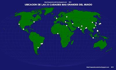 Mapamundi, seterra, Ubicación de las 25 ciudades mas grandes del mundo