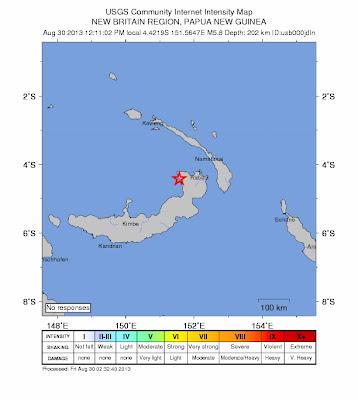 erremoto de 5,8 grados de magnitud ha golpeado la region de Nueva Bretaña, Papúa-Nueva Guinea en Viernes, 30 de agosto 2013 12:11:02