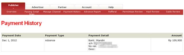 Bukti Pembayaran Pertama dari PPC Lokal Adsensecamp