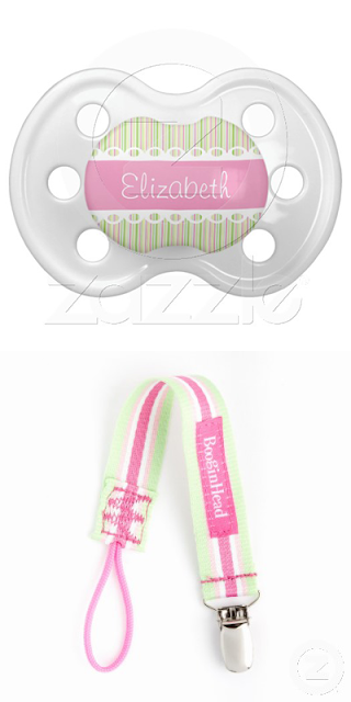 Custom Ribbon and Lace Personalized Pacifier and matching pacifier leash