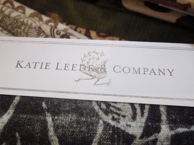 Close up of Katie Leede's logo and fabric