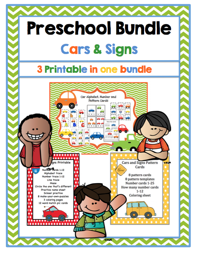 Preschool Bundle Cars And Signs Preschool Printables - Signs of cars with names