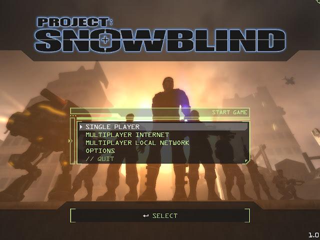 Project: Snowblind title screen menu