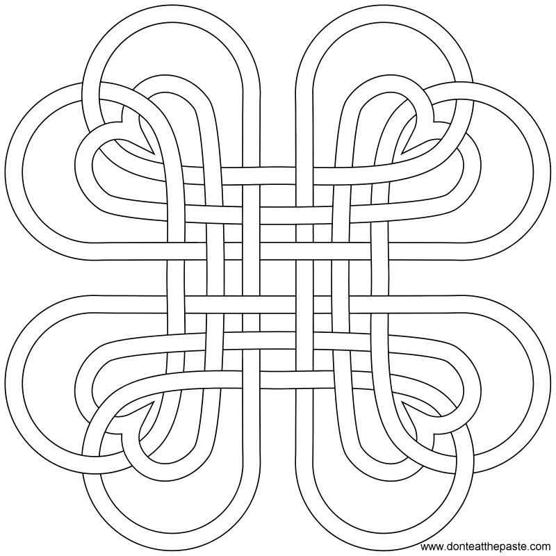 Heart knot to print and color