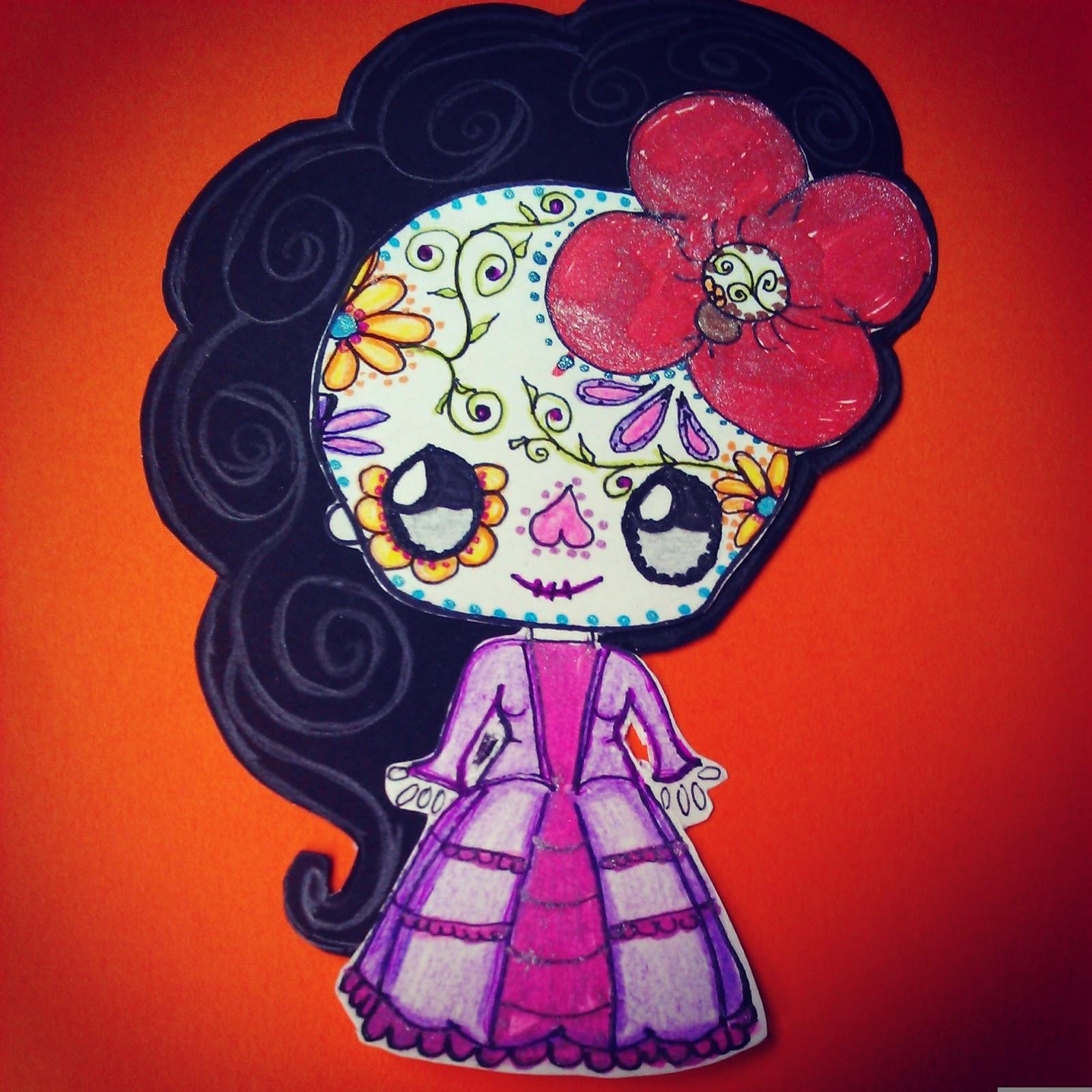 Siempre que pienso en la Catrina pienso en brillo, cintas, puntillas, flores y colores que resaltan mucho.