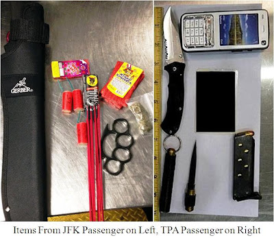 Knives, Fireworks, Brass Knuckles, Ammunition, Stun Gun