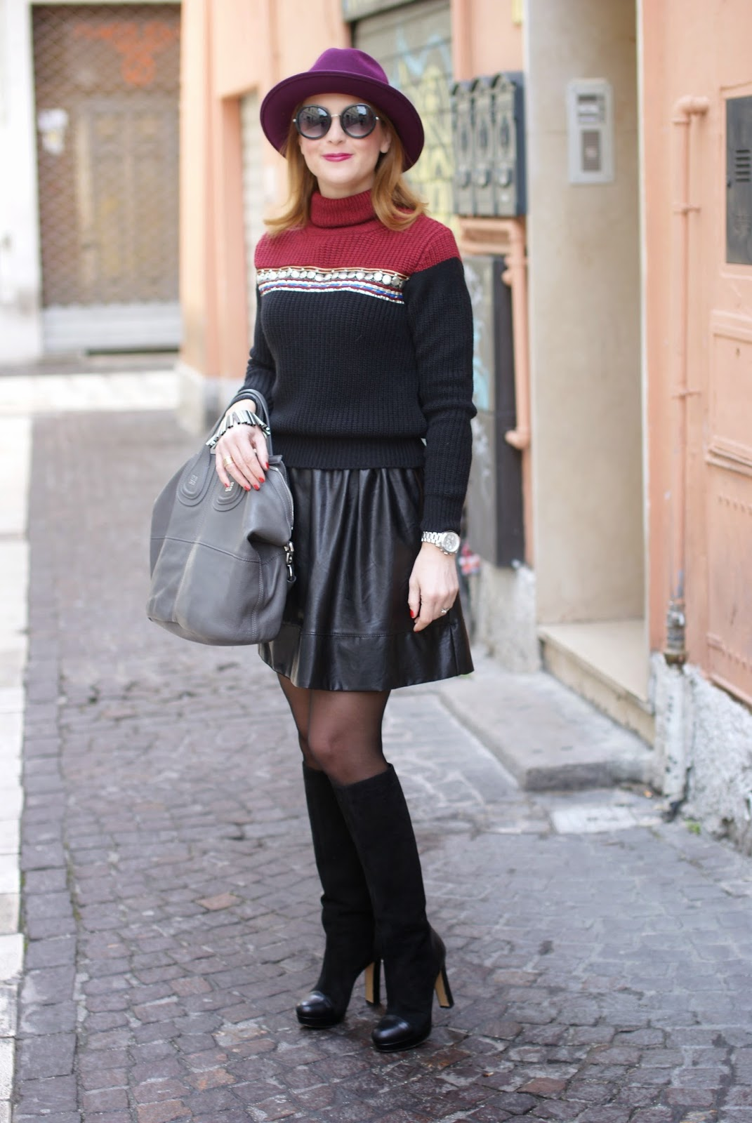 Eco-leather mini circle skirt, ribbed knit turtleneck sweater, Fashion and Cookies, fashion blogger