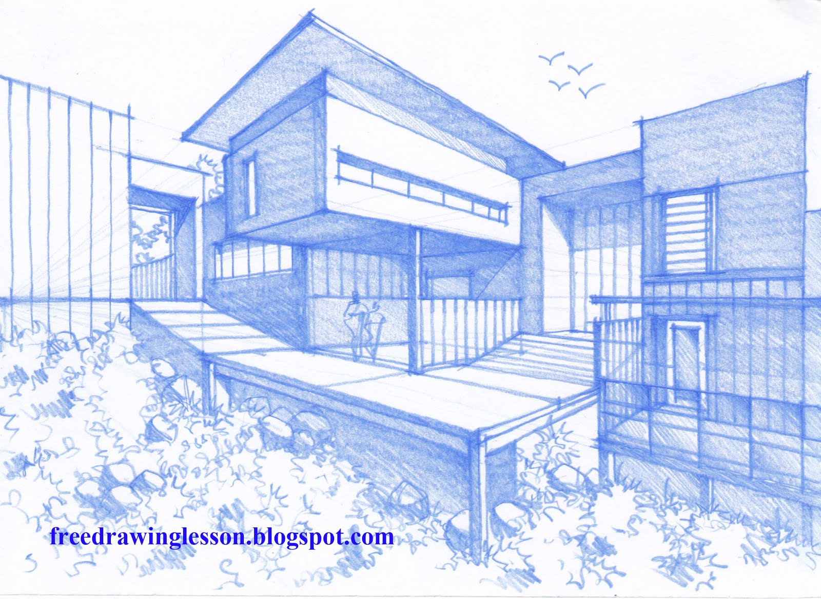 Sketch draw how to draw a house Drawing modern houses