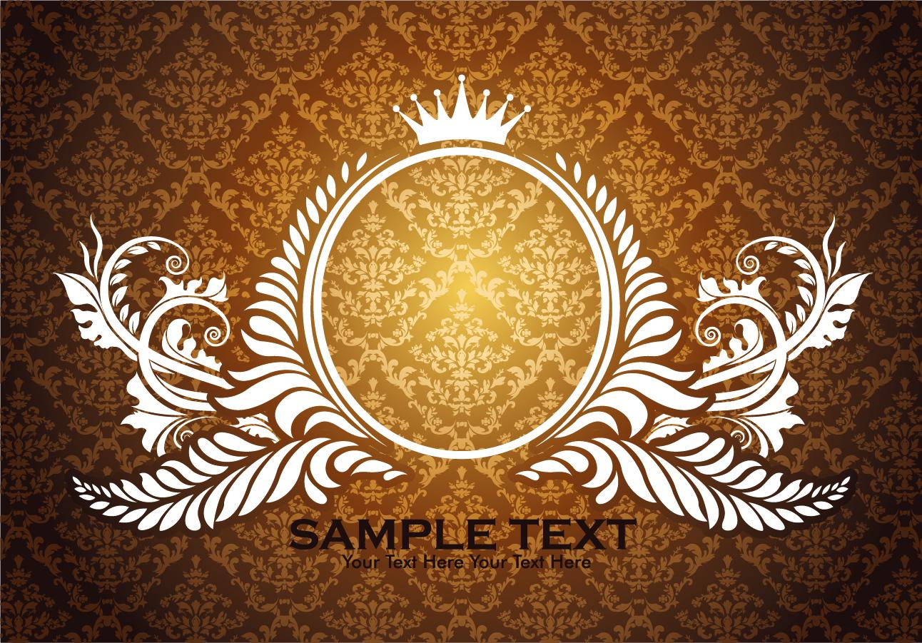 シームレスな背景にお洒落なレース飾りのフレーム european gorgeous lace pattern イラスト素材4