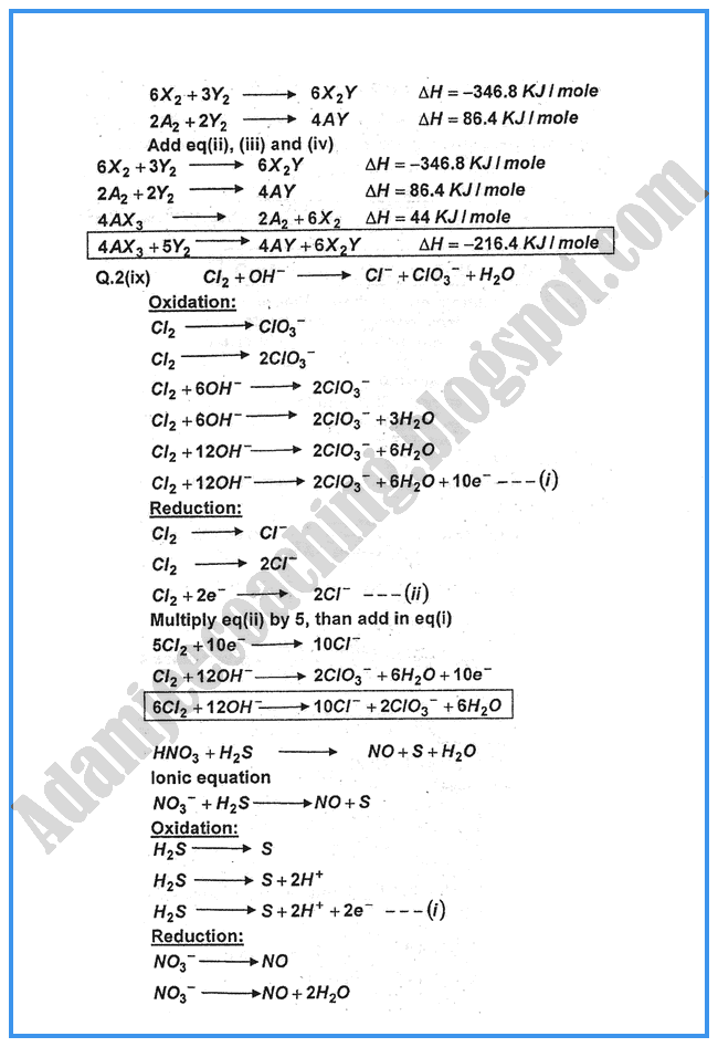 Chemistry-Numericals-Solve-2014-past-year-paper-class-xi