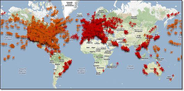 trafic aérien dans la monde : cartographie