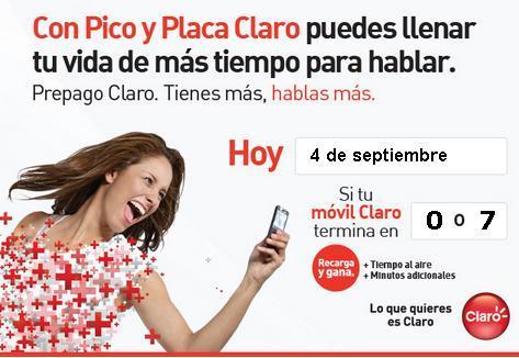 placa claro colombia hoy Martes 4 septiembre 2012 hoy es dia pico y