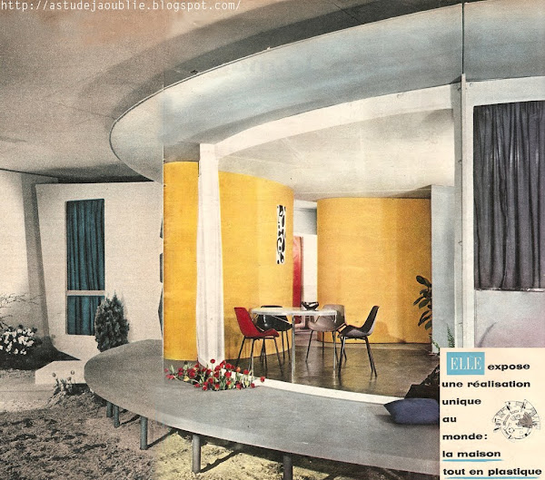 """Salon des Arts ménagers - Première maison tout en plastique, maison escargot. First plastic house. Architectes: Ionel Schein, René-André Coulon, Yves Magnant (ingénieur) Création: 1955-1956   Scan du magazine """"Elle"""" n°530 et n°531 - Février 1956."""