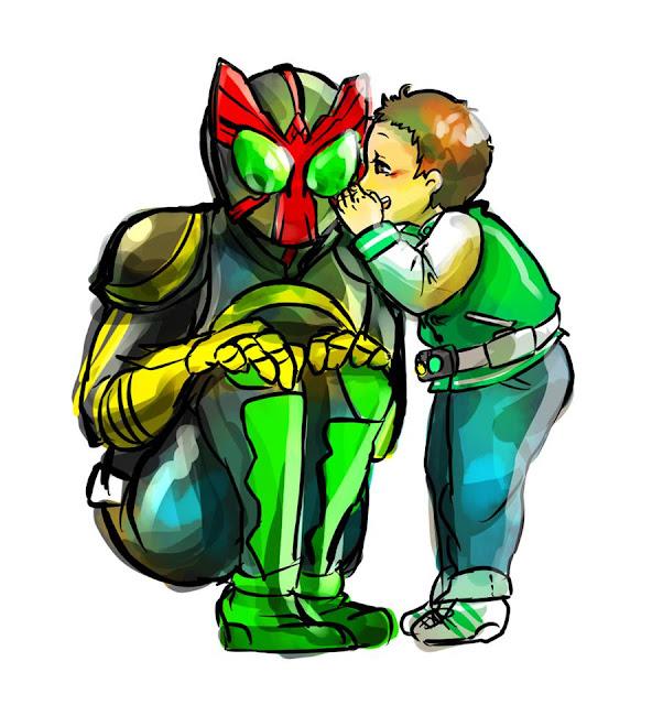 Gambar, Ilustrasi, Kamen Rider, Ksatria Baja Hitam,  Masa Kecil, Kamen Rider OOO