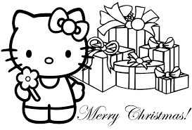 hello kitty christmas coloring pages for kids 1