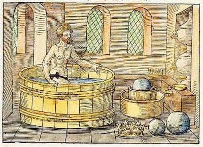 Archimedes taking a bath - the Eureka moment