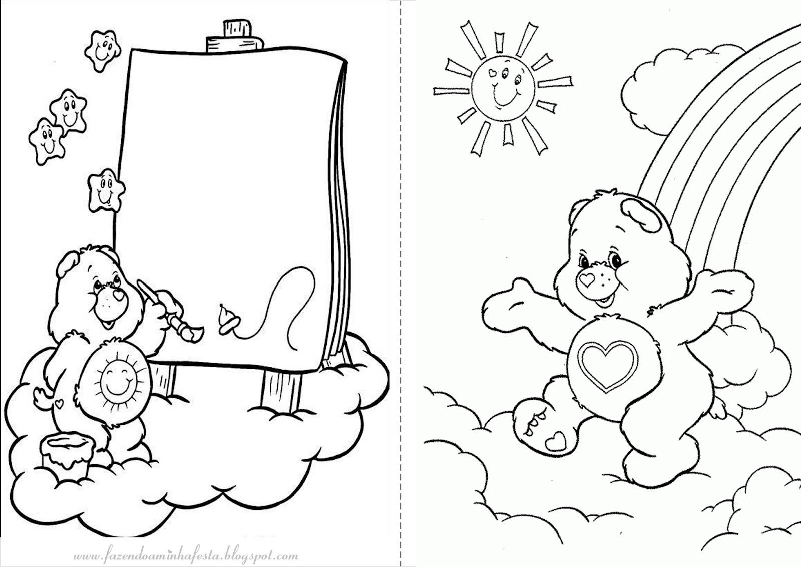 imagens para colorir ursinhos carinhosos - Desenhos dos Ursinhos Carinhosos para Colorir e Imprimir