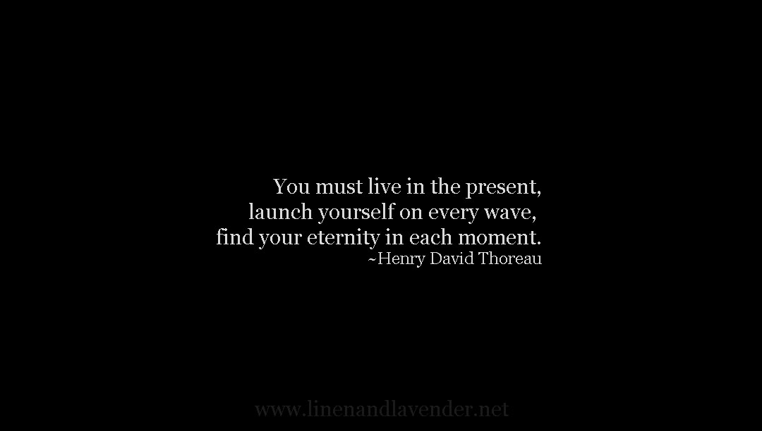 You must live in the present moment, launch yourself on every wave, find your eternity in each moment.  - Henry David Thoreau as seen on linenandlavender.net - http://www.linenandlavender.net/p/inspired-quotes-and-images.html