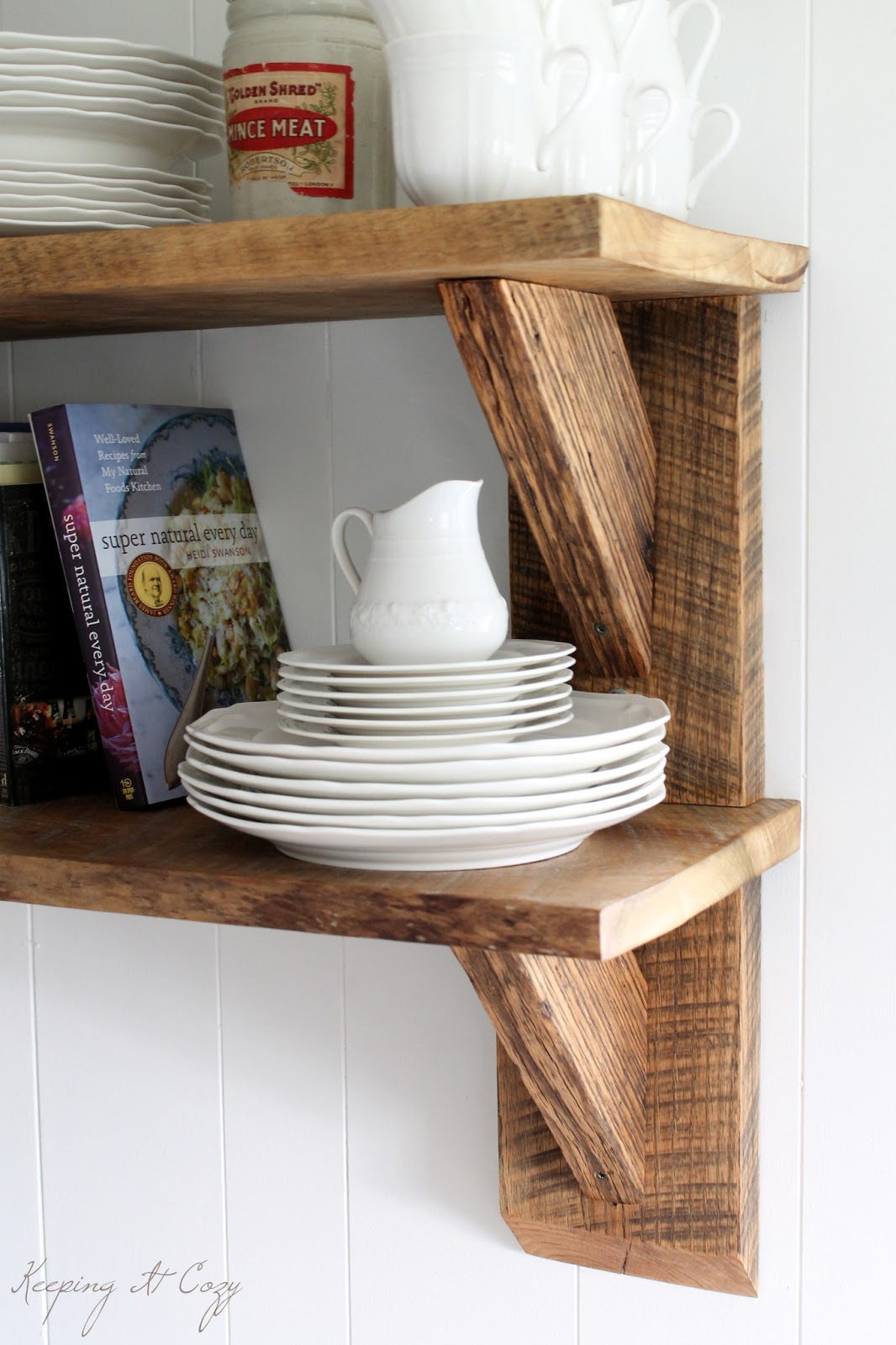 Amazing photo of Keeping It Cozy: Reclaimed Wood Kitchen Shelves with #6B4530 color and 1066x1600 pixels