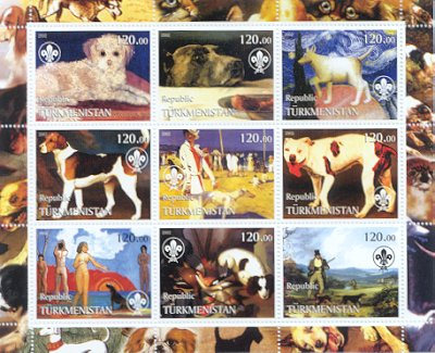 2002年トルクメニスタン マルチーズ 犬種不明 犬種不明 フォックス・ハウンド サルーキ ブルドッグ グレーハウンド キャバリア・キング・チャールズ・スパニエル ポインターの切手シート