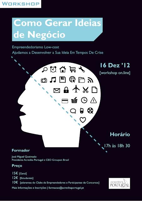 """Workshop online: """"Como Gerar Ideias de Negócio"""""""