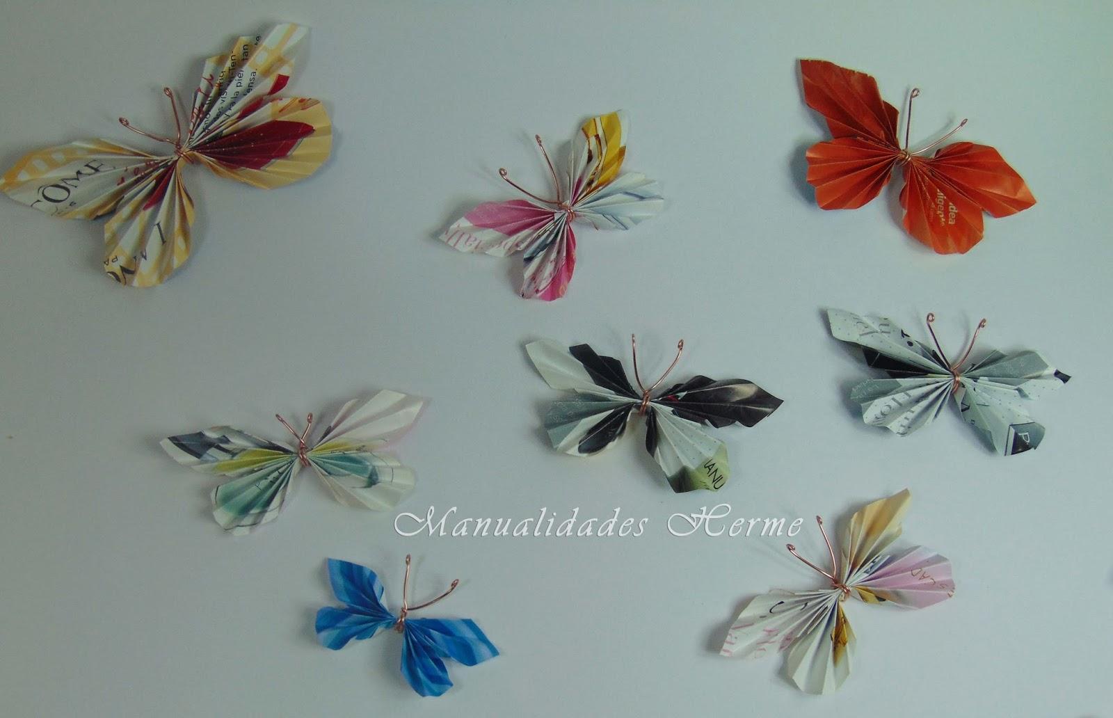 Manualidades herme hacer mariposas con papel de revista - Como hacer mariposas de papel para decorar paredes ...