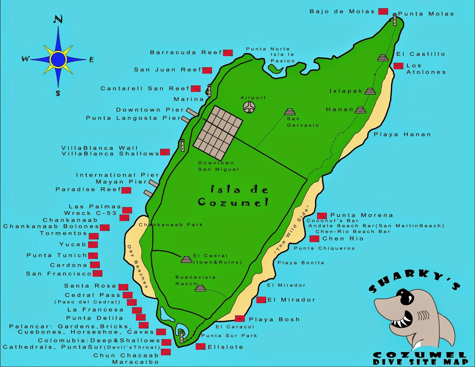 The shark tank radio show sharky 39 s cozumel dive site map - Cozumel dive sites ...