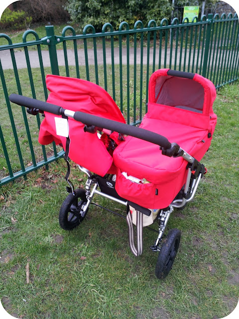 Easywalker Duo, red double buggy, monster truck pushchair,