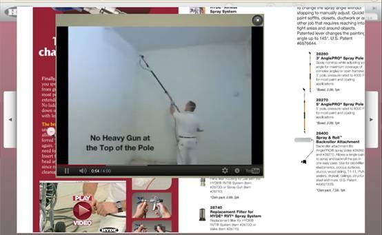 صفحة من داخل كتالوج العدد تبين فيديو شرح عمل مسدس الرش ذو الزانة