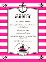 nautical Sailor Pirate Stripe Pink Birthday Party Invitation