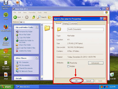 Learn how to unhide files and folders in windowsXP step13