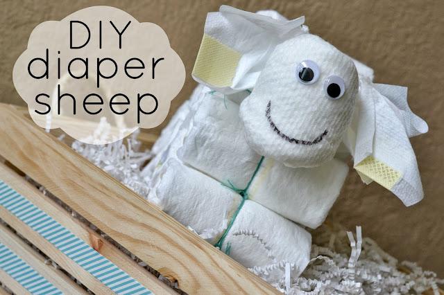 DIY Diaper Sheep, diaper crafting tutorial, Diaper sheep, diaper cake alternative, fun diaper craft, baby shower sheep decor, sheep baby shower