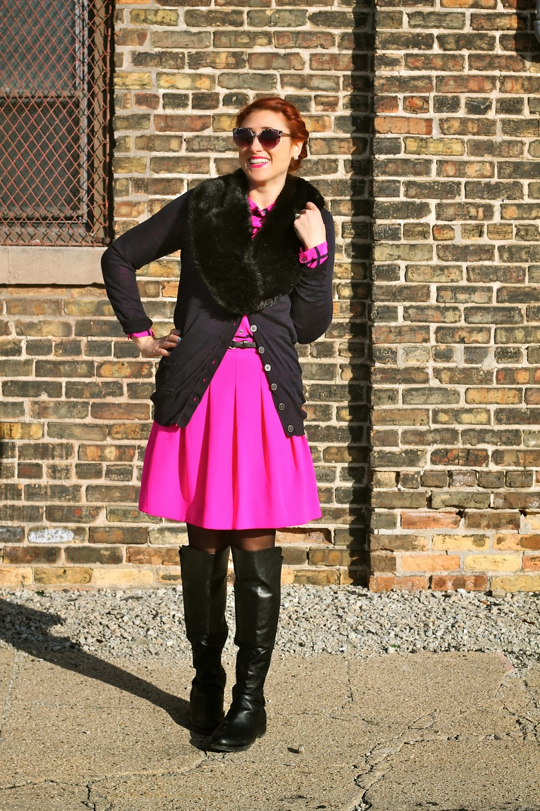 j, crew, pink, pleated, skirt,
